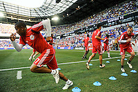 Jeremy Hall (17) and Joel Lindpere (20)of the New York Red Bulls warm up prior to a friendly between Santos FC and the New York Red Bulls at Red Bull Arena in Harrison, NJ, on March 20, 2010. The Red Bulls defeated Santos FC 3-1.