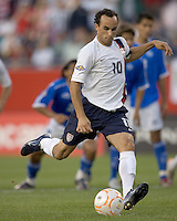 Landon Donovan (United States, white shirt) scores on a penalty kick. The United States defeated El Salvador, 4-0, in the first round of the CONCACAF Gold Cup, in Gillette Stadium, Tuesday, June 12, 2007.