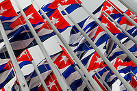 """Cuban national flags wave in front of the U.S. Interest Section in Havana, Cuba, 13 August 2008. In 2006 the US installed the giant electronic banner on the fifth floor of their building in the centre of Havana and start to broadcast political propaganda, news, messages and statements. In return, the Cuban government erected so called """"Monte de las Banderas"""" (Forest of Flags), 138 flagpoles in front of the building to prevent Cubans from seeing the scrolling letters."""