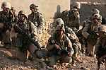 Marines from Golf Co. 2nd Battalion 1st Marines during the fourth day of Operation Steel Curtain, an operation to clear Husaybah (a city on the Iraq-Syrian border) of insurgents on Tues. 8, 2005.