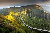 "A morning aerial view of the Ko'olau Range and H-3 Highway in Ha'iku Valley from Ha'iku Stairs (or ""Stairway to Heaven"") hiking trail in Kane'ohe, O'ahu."