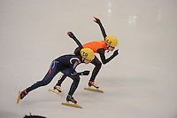 OLYMPICS: SOCHI: Iceberg Skating Palace, 13-02-2014, Shorttrack, Ladies' 500m, Quarterfinals, Seung-Hi Park (#138 | KOR), Yara van Kerkhof (#144 | NED), ©photo Martin de Jong