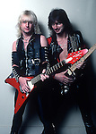 """K.K. Downing, Glen Tipton, Nov 1982, founding members of Judas Priest, the Grammy Award winning English heavy metal band from Birmingham, formed in 1969. They have been cited as an influence on many heavy metal musicians and bands. Their popularity and status as one of the definitive heavy metal bands has earned them the nickname """"Metal Gods"""""""