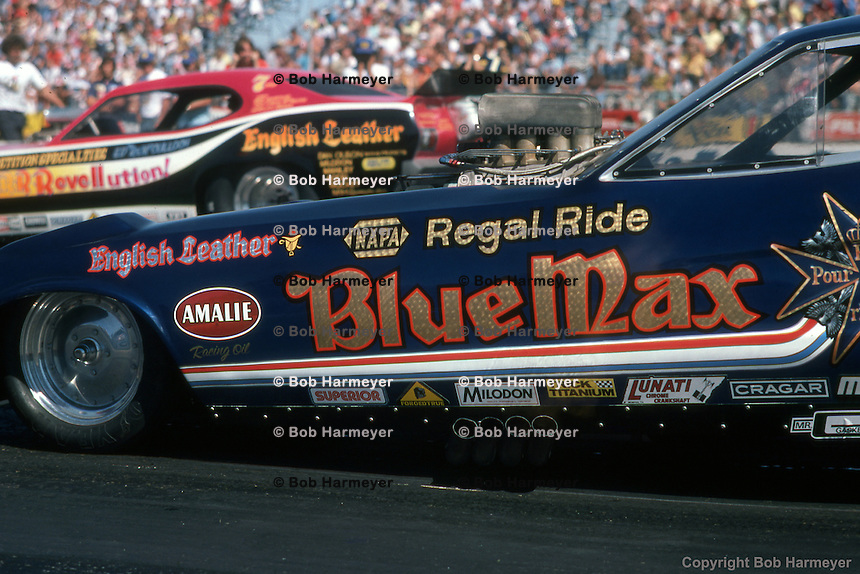 INDIANAPOLIS, INDIANA - Raymond Beadle drives the Blue Max funny car during the 1976 NHRA US Nationals in Indianapolis, Indiana.