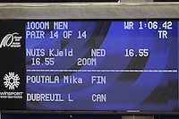 SPEEDSKATING: CALGARY: Olympic Oval, 25-02-2017, ISU World Sprint Championships, 1000m Men, Kjeld Nuis (NED), national record (Nederlands record) 1:06.61, ©photo Martin de Jong