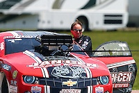 Apr 25, 2015; Baytown, TX, USA; NHRA pro mod driver Mike Janis during qualifying for the Spring Nationals at Royal Purple Raceway. Mandatory Credit: Mark J. Rebilas-