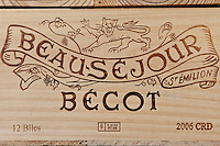 Case of Chateau Beau-Sejour Becot 2006 vintage wine at St Emilion in the Bordeaux wine region of France