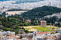 Greece, Athens. View of Athens from the famous Acropolis. Temple of Olympian Zeus and Panathenaic Stadium.