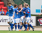 St Johnstone v Motherwell...22.08.15  SPFL   McDiarmid Park, Perth<br /> Steven MacLean scelebrates his second goal<br /> Picture by Graeme Hart.<br /> Copyright Perthshire Picture Agency<br /> Tel: 01738 623350  Mobile: 07990 594431