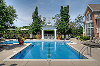 Swimming pool at an luxurious apartment complex, supporting a community living lifestyle.