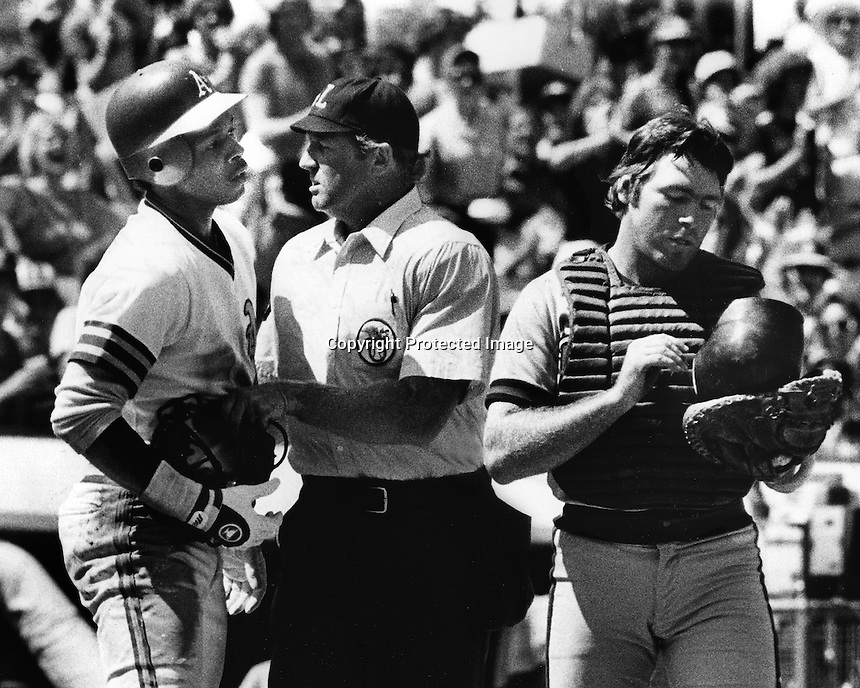 A's Dwayne Murphy restrained by Ump, Angel catcher Ed Ott. (1981 photo by Ron Riesterer)