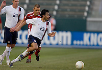 Pablo Mastroeni looks towards goal. The USA defeated Denmark 3-1 in an International friendly at the Home Depot Center in Carson, CA on January 20, 2007.