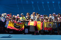 Rafael Nadal of Spain fans during Day 6 of The Australian Open Grand Slam