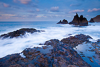 The Wild coast, in a windy day, in Benijo, Anaga Peninsula, North-east Tenerife. Tenerife  Island, Canary Islands, Spain.