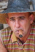 Cuba, Pinar del Rio Region, Viñales (Vinales) Area.  Tobacco Farm Laborer.
