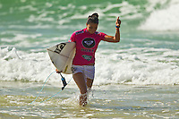 SNAPPER ROCKS, Queensland/Australia (Tuesday, February 28, 2012) Malia Manuel (HAW). – The Roxy Gold Coast presented by Land Rover, the opening stop on the 2012 Women's ASP World Championship Tour, today whittled the field down to the just four women with the world's best surfers tested in tricky two-to-three foot (1 metre) surf at Snapper Rocks.. .Tyler Wright (AUS), 17, runner-up at the 2011 Roxy Pro, eliminated reigning ASP Women's World Champion and defending event winner Carissa Moore (HAW), 19, in a re-match of last year's Final. Wright was ferocious in her assault on the waves at Snapper Rocks, posting two excellent scores en route to causing the biggest upset of the event.. .Wright will face compatriot Laura Enever (AUS), 20, in the Semifinals of the Roxy Pro Gold Coast when competition resumes.. .Sally Fitzgibbons (AUS), 21, 2011 ASP Women's World Runner-Up, clocked a pair of scores in the 8-point-range to eliminate newcomer Malia Manuel (HAW), 18, in today's Quarterfinals. Manuel would end up with Eqaul 5th and bragging rights as the highest placed rookie at the 2012 Roxy Pro..  .Fitzgibbons will take on four-time ASP Women's World Champion Stephanie Gilmore (AUS), 24, in the Semifinals when competition resumes. The Gold Coast natural-footer seems to have found her form at the Roxy Pro Gold Coast and will be a dangerous draw when the event recommences.. Photo: joliphotos.com