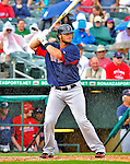 8 March 2012: Boston Red Sox catcher Jarrod Saltalamacchia in action during a rainy Spring Training game against the St. Louis Cardinals at Roger Dean Stadium in Jupiter, Florida. The Cardinals defeated the Red Sox 9-3 in Grapefruit League action. Mandatory Credit: Ed Wolfstein Photo