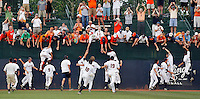 The Virginia Cavaliers mounted a dramatic rally and sophomore shortstop Chris Taylor delivered a walk-off two-run single to upend UC Irvine 3-2 in the NCAA Charlottesville Super Regional, sending the 5,050 fans into a frenzy at Davenport Stadium in Charlottesville, Va. Photo/Andrew Shurtleff