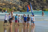 """Coolangatta, Queensland, Australia (Sunday February 13th 2011): Mick Fanning (AUS).   SNAPPER SURFRIDERS CLUB have confirmed their status as Australia's premier boardriding club by winning the 2011 Rhythm Kirra Teams Challenge in excellent 1m (3feet) surf at Duranbah Beach on the southern Gold Coast..It was Snapper's 9th win of this prestigious title, placing them well ahead of their closest rival Kirra who placed second..Today's victory was typical of this event, getting down to the very last surfer of their 8 man team to bring the victory home in a nail biting finish..Clint Kimmins was the Snapper surfer with all the pressure placed on him as the final surfer. The equation was simple, win the heat and win the title for Snapper, lose and the title would be won by either Merewether (NSW) or Kirra (Qld)... It was a see-sawing duel between Kimmins and Palm Beach Boardriders surfer Jeff Norris with multiple changes in the lead but in the end Kimmins won by just 0.23 of a point..""""That was the toughest heat I've surfed"""" said a relieved Kimmins after the heat.."""" Surfing for the team, I knew the situation and I just tried to concentrate on surfing my best but the pressure was there - knowing Parko and Deano and the whole rest of the team had done their job to get us to a winning position - it was tough but it feels great now - we're number one club!"""".Snapper's win was incredible as they started the event with 3 consecutive 2nd placings in their 8 surfer team and many thought they were gone in the early stages..However, their final 5 surfers brought home 5 consecutive wins and they stole the title..Their team and heat placing were as follows - Blake Ainsworth (2nd), Mitch Crews (2nd),  Jay Phillips (2nd), Ice Periera-Ryan (1st), Shaun Gossman (1st), Joel Parkinson (1st), Dean Morrison (1st) and Clint Kimmins (1st)... A number of outstanding ASP World Tour and former world tour surfers competed for the pride of their club today, lead by former two time world champion Mick Fa"""