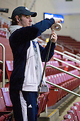 Joey Diamond (Maine - 39) tapes his stick in the stands. - The Boston College Eagles defeated the visiting University of Maine Black Bears 4-0 on Friday, November 19, 2010, at Conte Forum in Chestnut Hill, Massachusetts.