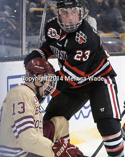 Johnny Gaudreau (BC - 13), Colton Saucerman (NU - 23) - The Boston College Eagles defeated the Northeastern University Huskies 4-1 (EN) on Monday, February 10, 2014, in the 2014 Beanpot Championship game at TD Garden in Boston, Massachusetts.