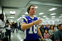 A Sayreville student speaks to the Board of Education during a meeting for discussing the continuity of the coaches involved in scandal of sexual assault by the school's football team in Parlin, New Jersey 10.21.2014. Photo by Eduardo MunozAlvarez/VIEWpress