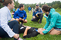 From left, Alexandra Brown, Justin Genziano, John Chisholm, M.D., resident, family medicine, Samy Ramadan, Amy Schumer. Outdoor team building activities. Wilderness medicine.