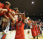 Mississippi's Terrance Henry (1) celebrates with fans following a 90-81 win over Memphis during an NIT game in Oxford, Miss. on Friday, March 19, 2010.