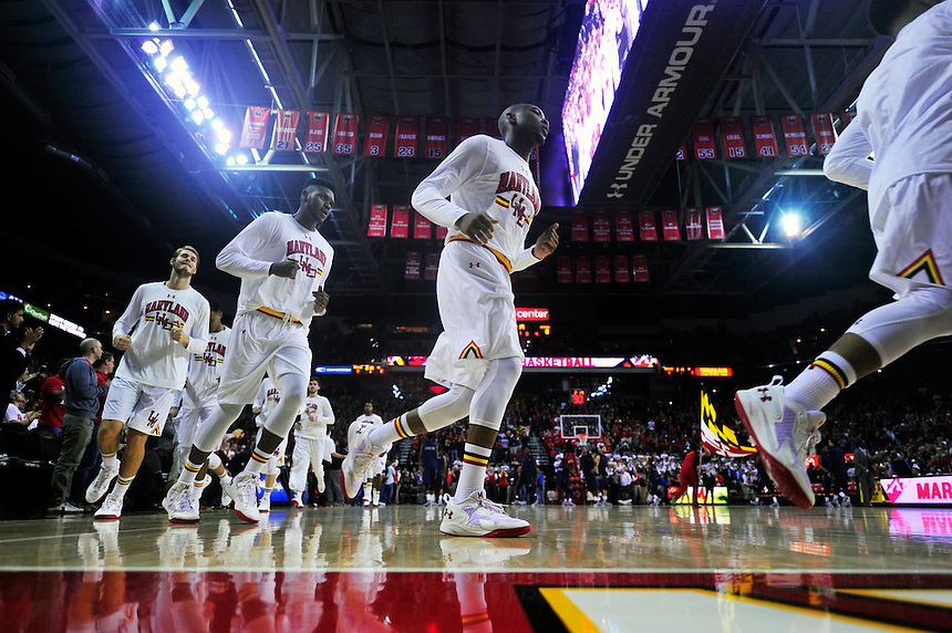 The Maryland players warm up prior to tip off against Georgetown Hoyas at Xfinity Center in College Park, MD on Wednesday, November 17, 2015.  Alan P. Santos/DC Sports Box