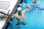 23 MAR 2012: Patrick Augustyn of Emory College celebrates after the 200 yard butterfly event during the Division III Men's and Women's Swimming and Diving Championship held at the IU Natatorium in Indianapolis, IN. Augustyn won the event with a time of 1:45:43.  Joe Robbins/NCAA Photos