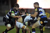 Michele Campagnaro of Exeter Braves is tackled by Guy Mercer, Max Clark and Jeff Williams of Bath United. Aviva A-League match, between Bath United and Exeter Braves on November 30, 2015 at the Recreation Ground in Bath, England. Photo by: Patrick Khachfe / Onside Images