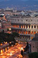 Colosseum and Via dei Fori Imperiali at twilight, Rome, Italy Colosseum, Rome, Italy