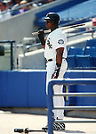 CHICAGO - 1996:  Frank Thomas of the Chicago White Sox looks on during an MLB game at Comiskey Park in Chicago, Illinois.  Thomas played for the White Sox from 1990-2005.  (Photo by Ron Vesely)
