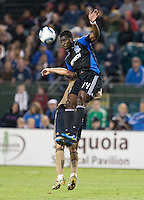 Brandon Mc Donald goes up for the ball over Fred. The San Jose Earthquakes defeated the Philadelphia Unioin 1-0 at Buck Shaw Stadium in Santa Clara, California on September 15th, 2010.