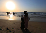 """Sawsan Al Khalili, 40 years-old, a Palestinian woman of special needs takes a selfie with her friend at the beach of Gaza city on Feb. 11, 2017. Al Khalili secretary general of the general union of the Palestinian disabled and a head of the Palestinian farsat club for women with disabilities and she has a degree in law and information technology. """"I defend the rights of the disabled and became their ambassador in six European countries"""" Al Khalili said.. Photo by Samar Eliwa"""