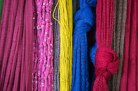 Colorful hanging mats create are nice texture in the Central Market of Phnom Penh,Cambodia