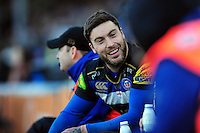 Matt Banahan of Bath Rugby is all smiles on the bench. Aviva Premiership match, between Bath Rugby and London Irish on March 5, 2016 at the Recreation Ground in Bath, England. Photo by: Patrick Khachfe / Onside Images