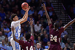 GREENVILLE, SC - MARCH 17: Justin Jackson (44) of the University of North Carolina takes a shot under coverage from Lamont Walker (14) and Marvin Jones (24) of Texas Southern University during the 2017 NCAA Men's Basketball Tournament held at Bon Secours Wellness Arena on March 17, 2017 in Greenville, South Carolina. (Photo by Grant Halverson/NCAA Photos via Getty Images)