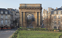 The Porte de Bourgogne or Porte de Salinieres, opened 1757 and built 1750-55, designed by Jacques Ange Gabriel and Nicolas Portier, Place Bir Hakeim, Bordeaux, Aquitaine, France. This is one of several city gates resembling triumphal arches built as part of the city's redesign in the 18th century. It is listed as a historic monument. Picture by Manuel Cohen