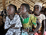 Girls listen to the sermon during Sunday morning worship at the United Methodist Church in Yei, a town in Central Equatoria State in Southern Sudan. NOTE: In July 2011, Southern Sudan became the independent country of South Sudan
