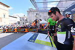 Mark Cavendish (GBR) Team Dimension Data at sign on before the start of Stage 6 of the 2017 Tirreno Adriatico running 168km from Ascoli Piceno to Civitanova Marche, Italy. 13th March 2017.<br /> Picture: La Presse/Gian Mattia D'Alberto | Cyclefile<br /> <br /> <br /> All photos usage must carry mandatory copyright credit (&copy; Cyclefile | La Presse)