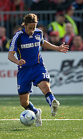 26 April 2009: Kansas City Wizards forward Josh Wolff #16 charges the net during an MLS game between Kansas City Wizards and Toronto FC..Toronto FC won 1-0. .