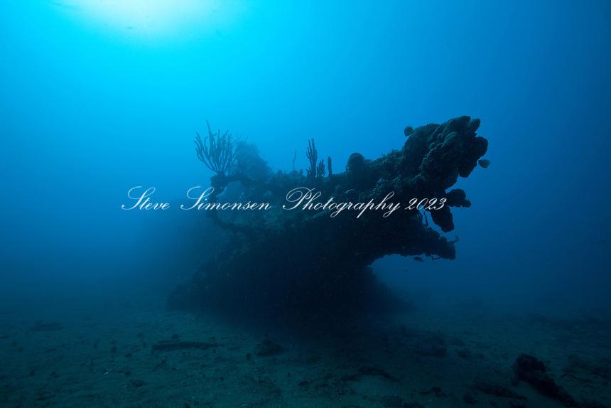 Bow of the RMS Rhone <br /> Sunk in 1867<br /> Salt Island<br /> British Virgin Islands