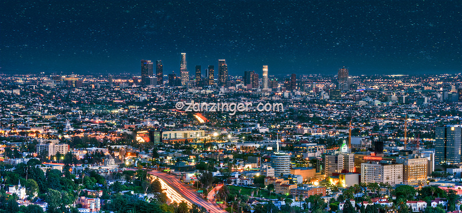 Los Angeles CA, Skyline, Clear to Hazy Evening, can see from Hollywood to Downtown LA, Twilight, Night, Magic Hour, dusk, streaking tail lights, Freeway 101,