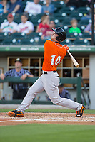 Drew Dosch (10) of the Norfolk Tides follows through on his swing against the Charlotte Knights at BB&T BallPark on May 2, 2017 in Charlotte, North Carolina.  The Knights defeated the Tides 8-3.  (Brian Westerholt/Four Seam Images)