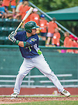 8 July 2014: Vermont Lake Monsters infielder Joe Bennie in action against the Lowell Spinners at Centennial Field in Burlington, Vermont. The Lake Monsters rallied with two runs in the 9th to defeat the Spinners 5-4 in NY Penn League action. Mandatory Credit: Ed Wolfstein Photo *** RAW Image File Available ****