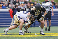 Annapolis, MD - April 15, 2017: Army Black Knights Dan Grabher (99) tries to get the groundball during game between Army vs Navy at  Navy-Marine Corps Memorial Stadium in Annapolis, MD.   (Photo by Elliott Brown/Media Images International)