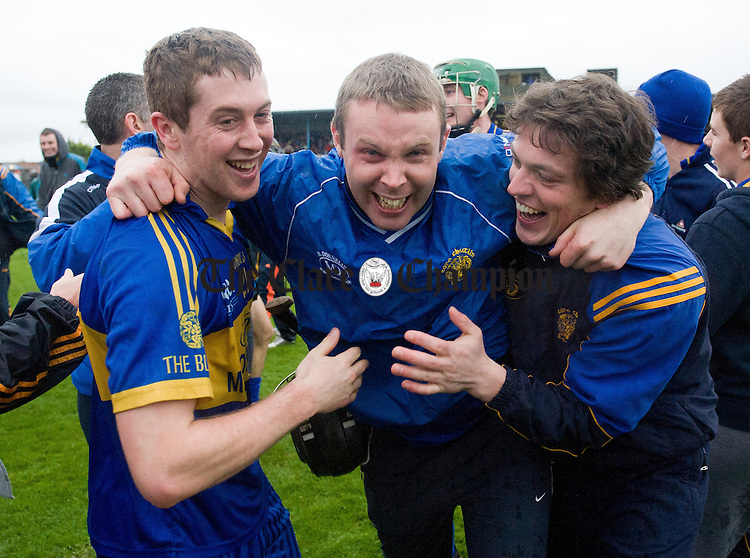 Newmarket celebrate on the final whistle at the end of the senior county hurling final at Cusack Park. Photograph by John Kelly.