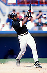 SARASOTA, FL - 1998:  Frank Thomas of the Chicago White Sox bats during an MLB spring training game at Ed Smith Stadium in Sarasota, Florida.  Thomas played for the White Sox from 1990-2005.  (Photo by Ron Vesely)