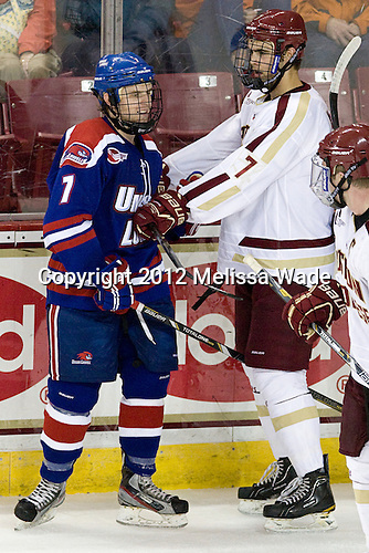 Shayne Thompson (UML - 7), Isaac MacLeod (BC - 7) - The Boston College Eagles defeated the visiting University of Massachusetts Lowell River Hawks 6-3 on Sunday, October 28, 2012, at Kelley Rink in Conte Forum in Chestnut Hill, Massachusetts.